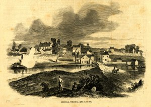 "Harpers Weekly, 2 May 1863: ""This view of Suffolk, Virginia possesses some interest just now in consequence of the attach of the rebels under Longstreet. The place has been fortified, and is held by a considerable force of Union troops under General Peck, who, it is said, feels satisfied of his ability to maintain himself. Suffolk is a small, filthy town of great antiquity, small population, little trade, and a great deal of Virginia dirt and Virginia pride."""