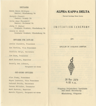 Program for Alpha Kappa Delta Initiation Ceremony