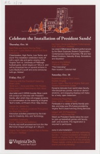 Pres. Timothy Sands' 2014 installation announcement, p. 1