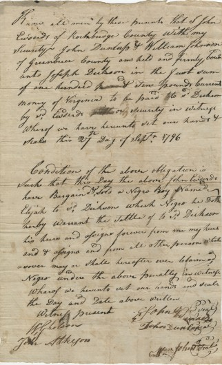 Bill of Sale for a slave named Elijah, 12 years old, 27 September 1796