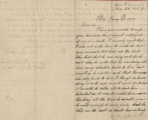 Letter from Elizabeth Carver to Edgar Knapp, 28 January 1863, page 1