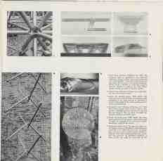 "Interior page of ""Three Structures by Buckminster Fuller"" depicting various aspects of his unique design elements."